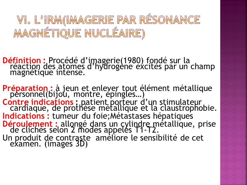 VI. L'IRM(imagerie par résonance magnétique nucléaire)