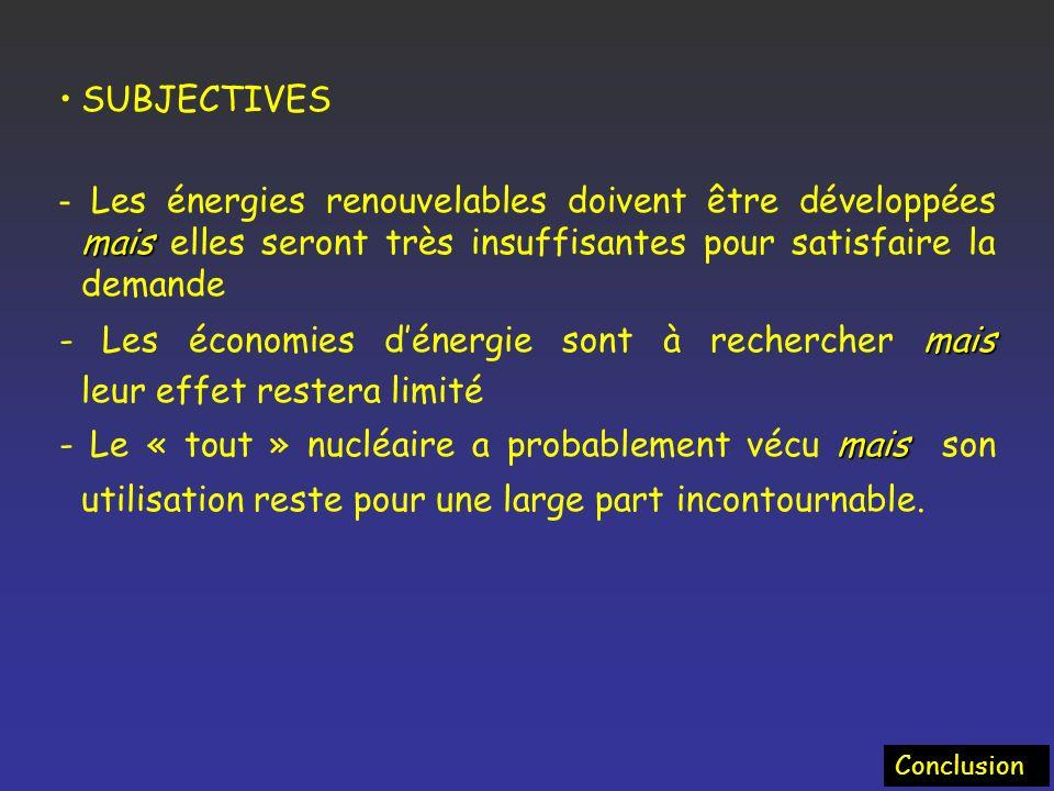 SUBJECTIVES - Les énergies renouvelables doivent être développées mais elles seront très insuffisantes pour satisfaire la demande.