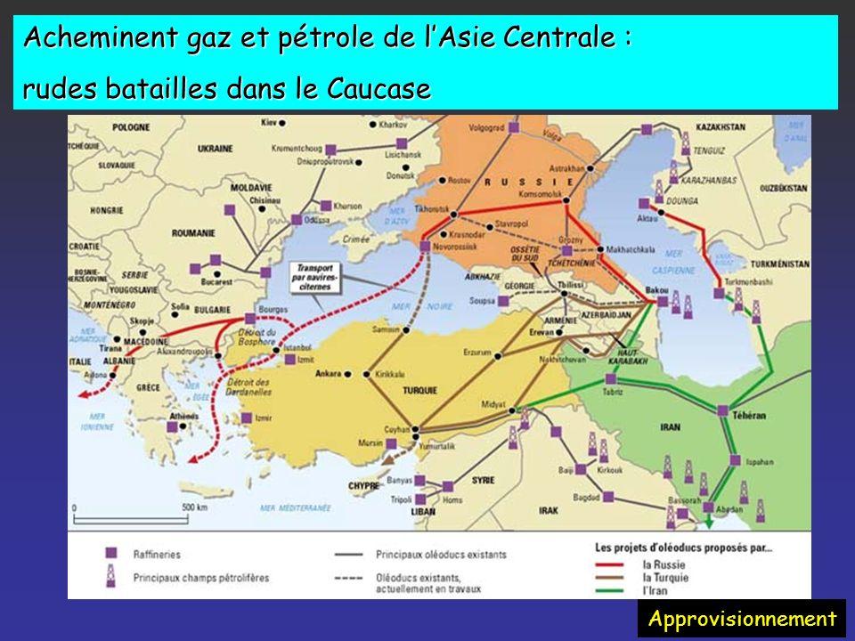 Acheminent gaz et pétrole de l'Asie Centrale :
