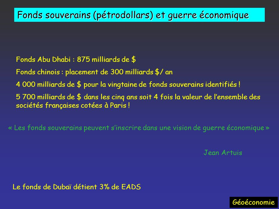 Fonds souverains (pétrodollars) et guerre économique