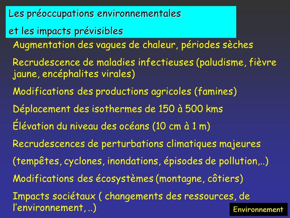 Les préoccupations environnementales et les impacts prévisibles