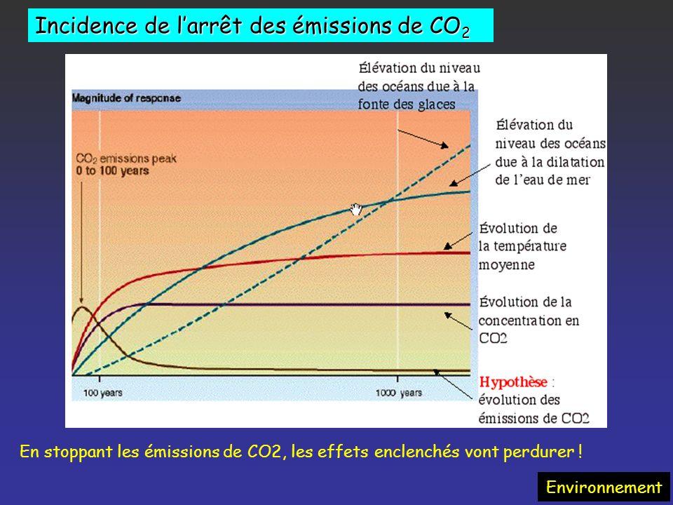Incidence de l'arrêt des émissions de CO2