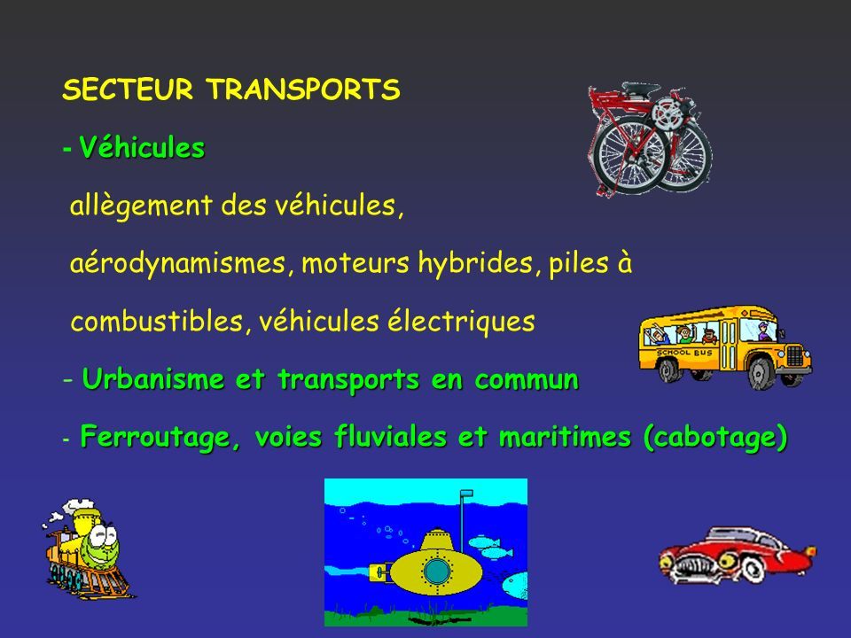 allègement des véhicules, aérodynamismes, moteurs hybrides, piles à