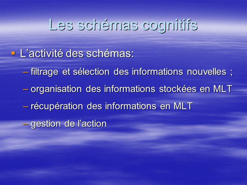 Les schémas cognitifs L'activité des schémas: