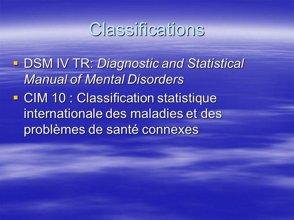 Classifications DSM IV TR: Diagnostic and Statistical Manual of Mental Disorders.