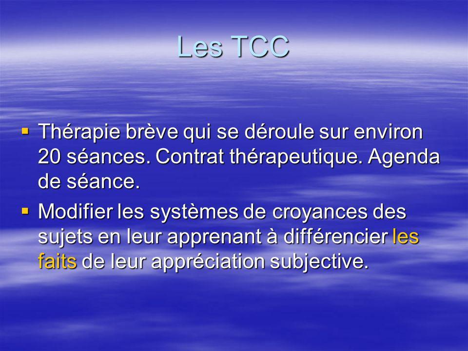 Les TCC Thérapie brève qui se déroule sur environ 20 séances. Contrat thérapeutique. Agenda de séance.