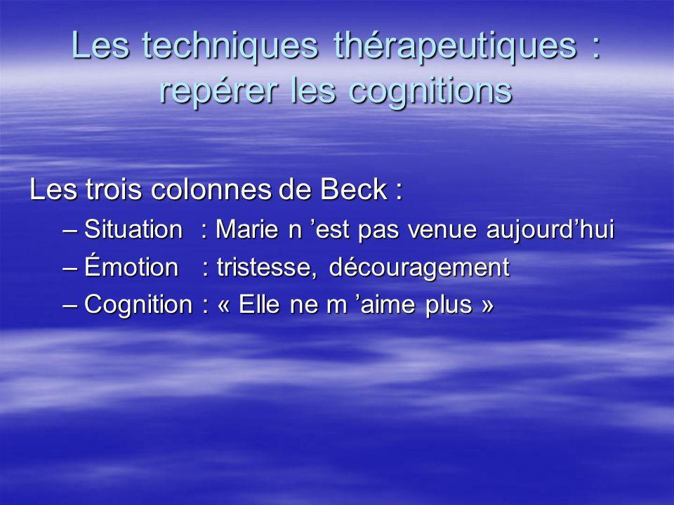 Les techniques thérapeutiques : repérer les cognitions