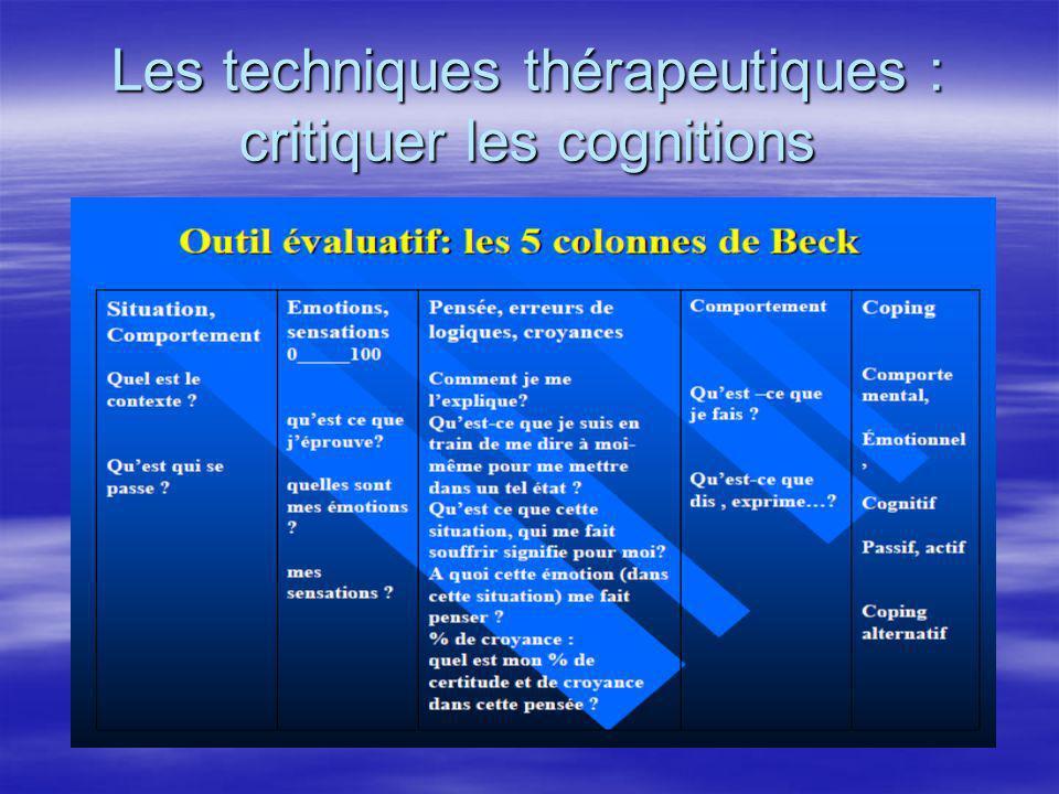 Les techniques thérapeutiques : critiquer les cognitions