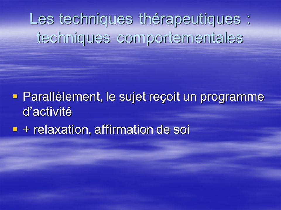 Les techniques thérapeutiques : techniques comportementales