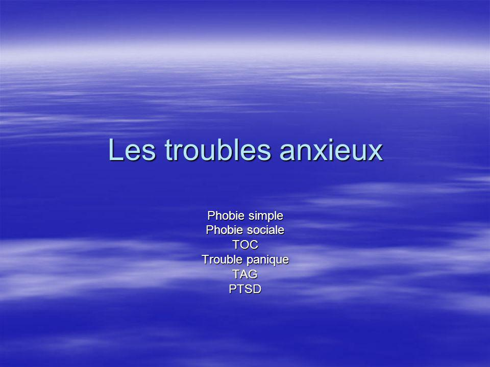 Phobie simple Phobie sociale TOC Trouble panique TAG PTSD