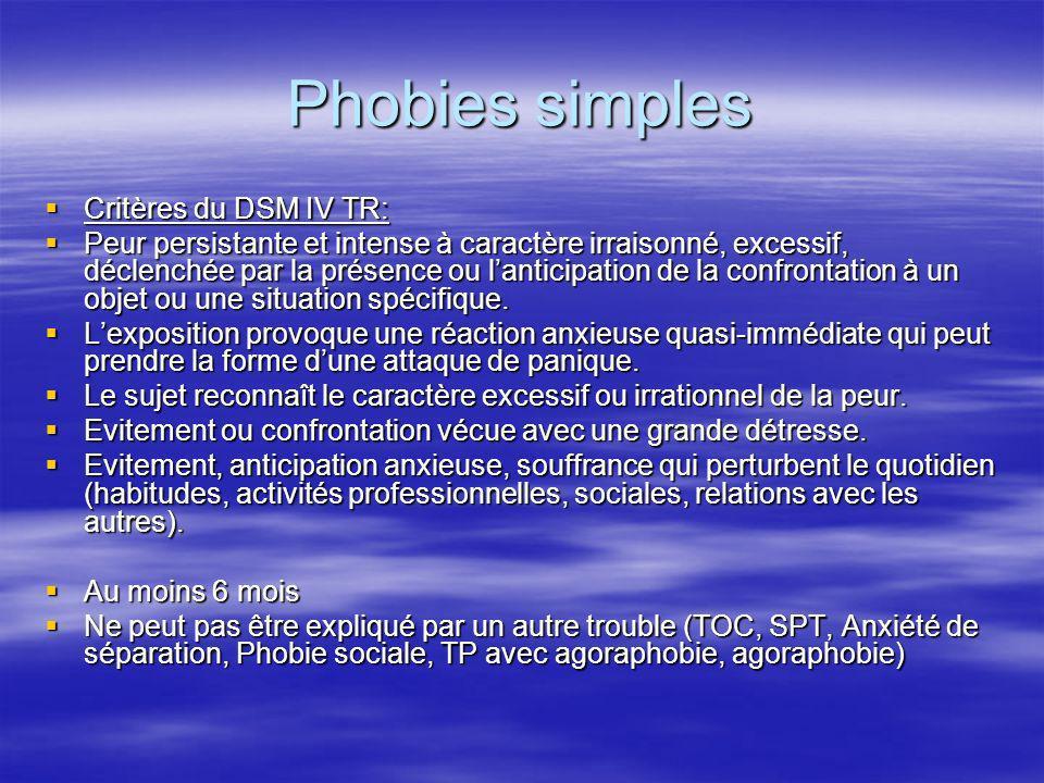 Phobies simples Critères du DSM IV TR: