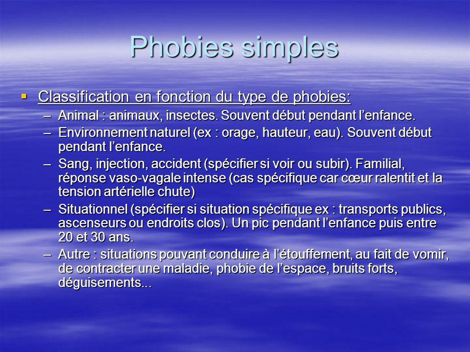 Phobies simples Classification en fonction du type de phobies: