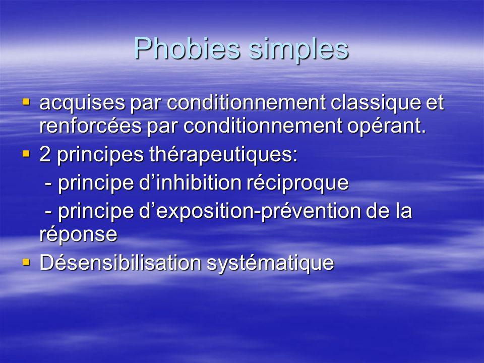 Phobies simples acquises par conditionnement classique et renforcées par conditionnement opérant. 2 principes thérapeutiques: