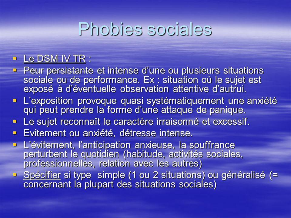Phobies sociales Le DSM IV TR :