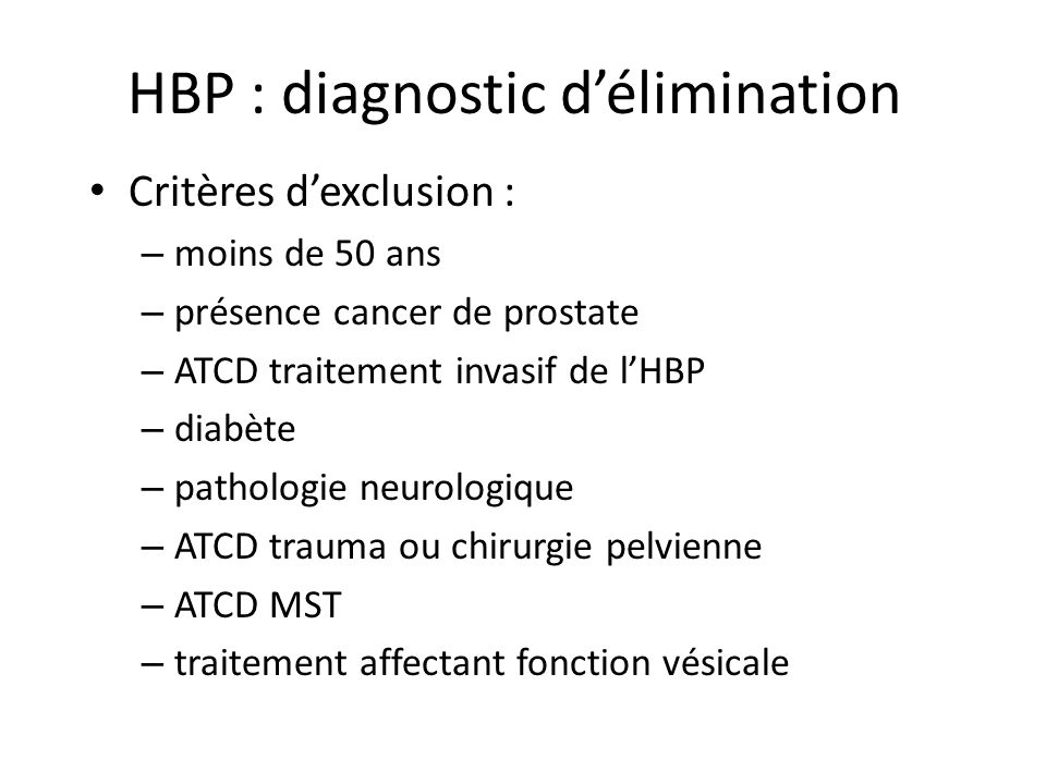 HBP : diagnostic d'élimination