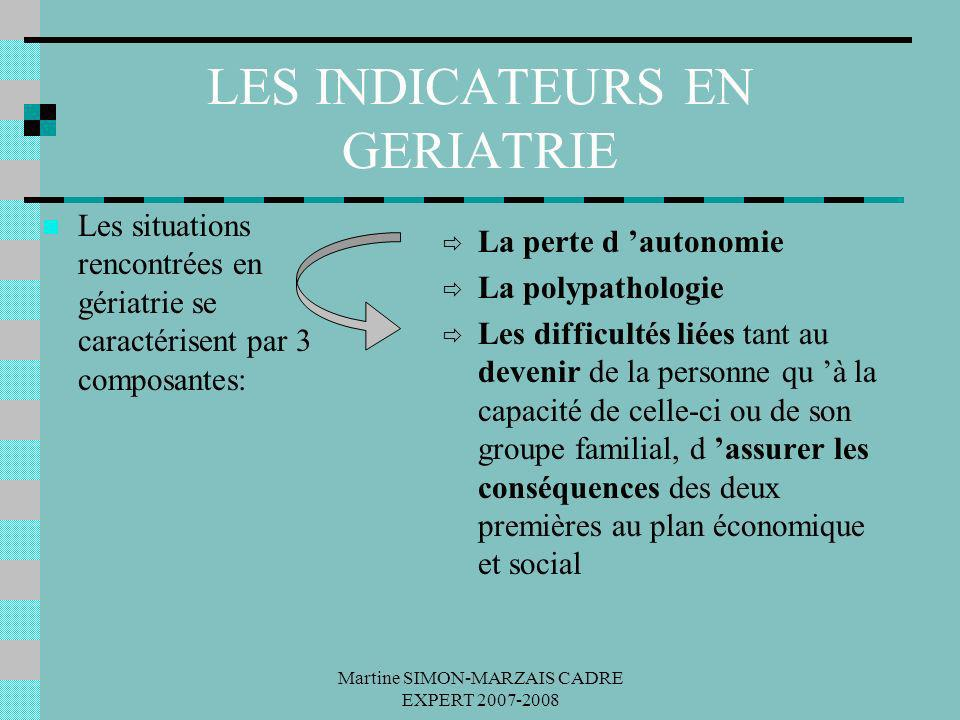 LES INDICATEURS EN GERIATRIE