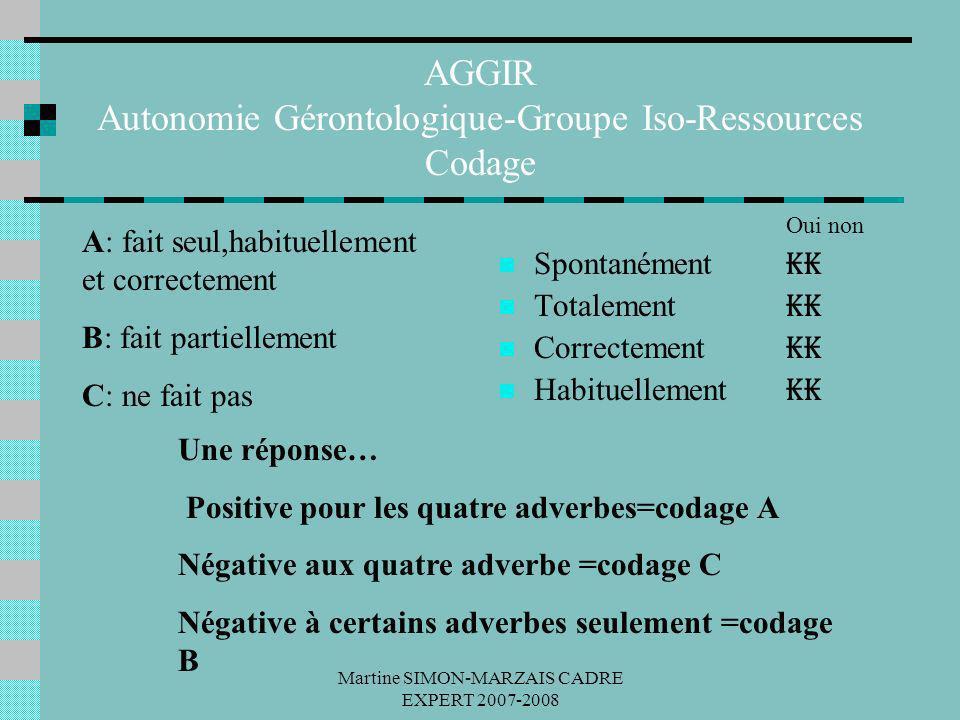 AGGIR Autonomie Gérontologique-Groupe Iso-Ressources Codage
