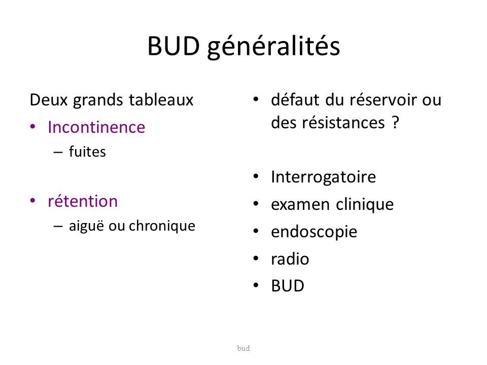 BUD généralités Deux grands tableaux Incontinence rétention