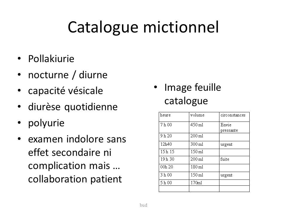 Catalogue mictionnel Pollakiurie nocturne / diurne capacité vésicale