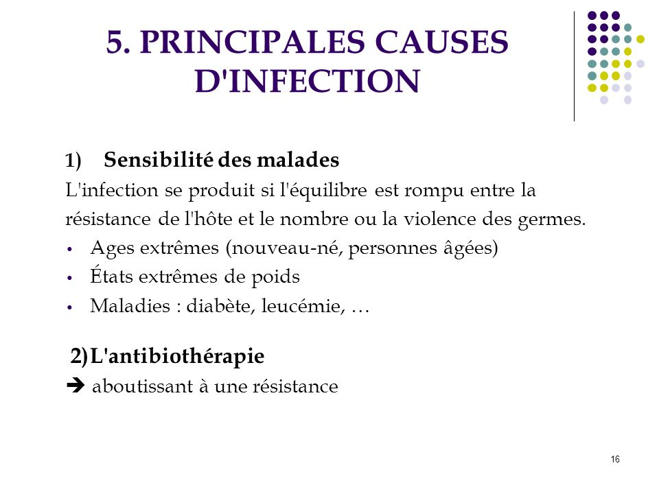 5. PRINCIPALES CAUSES D INFECTION