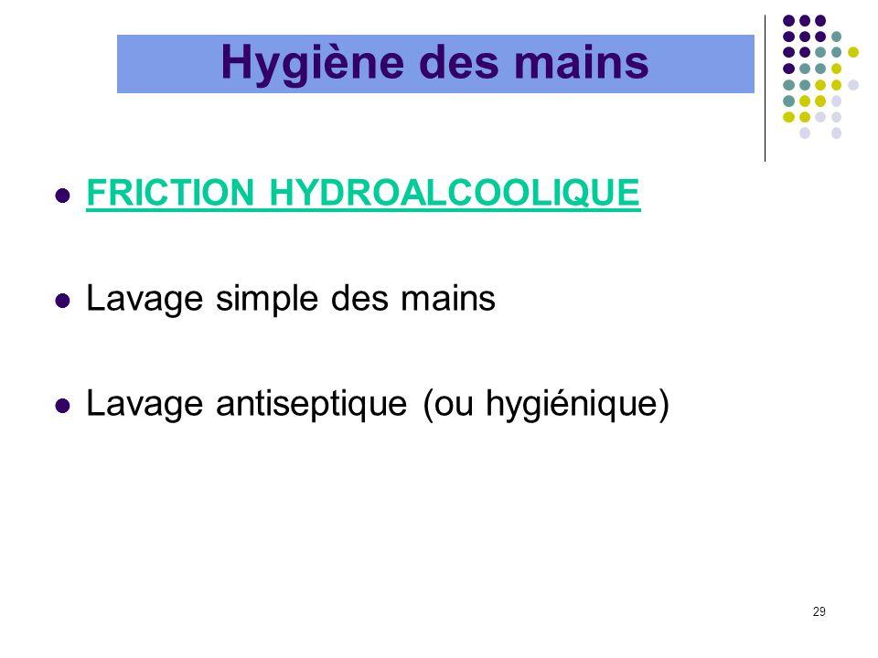 Hygiène des mains FRICTION HYDROALCOOLIQUE Lavage simple des mains