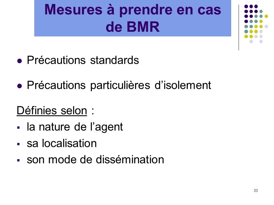 Mesures à prendre en cas de BMR