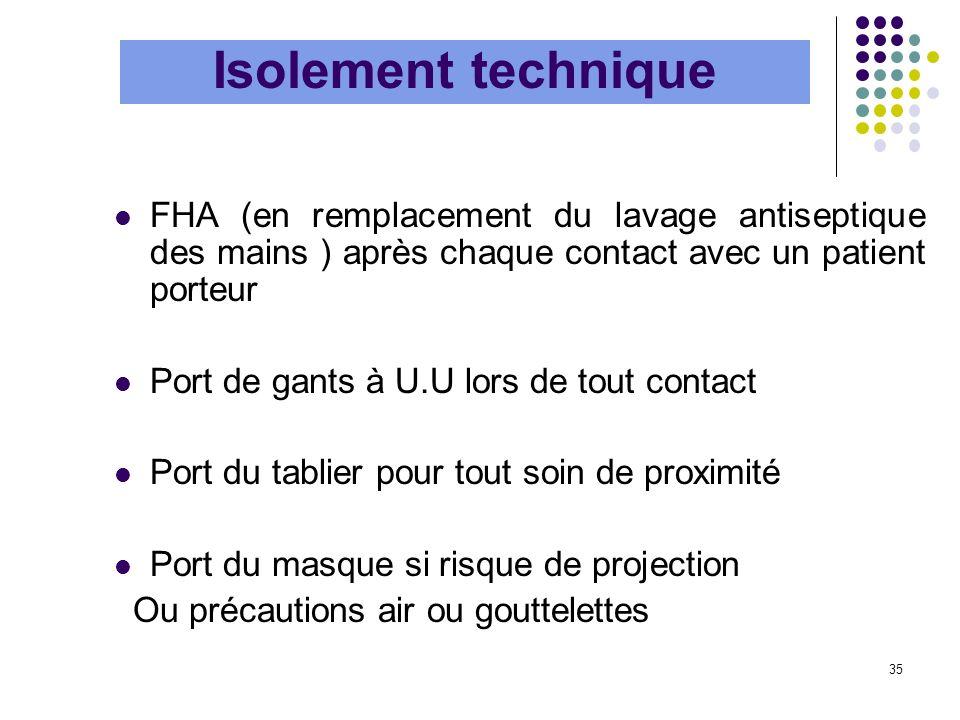 Isolement technique FHA (en remplacement du lavage antiseptique des mains ) après chaque contact avec un patient porteur.