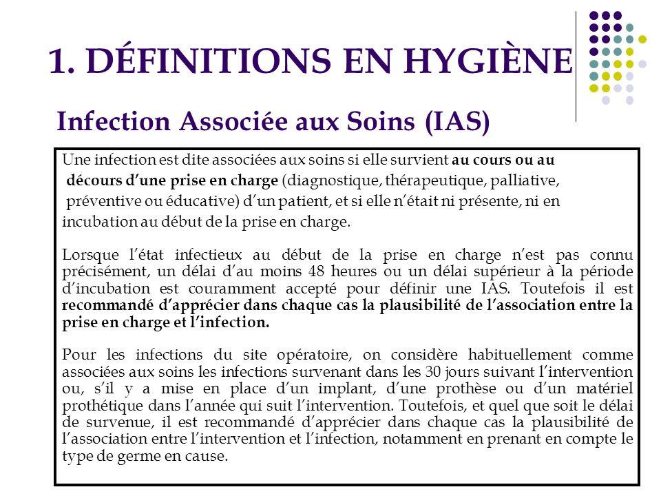1. DÉFINITIONS EN HYGIÈNE