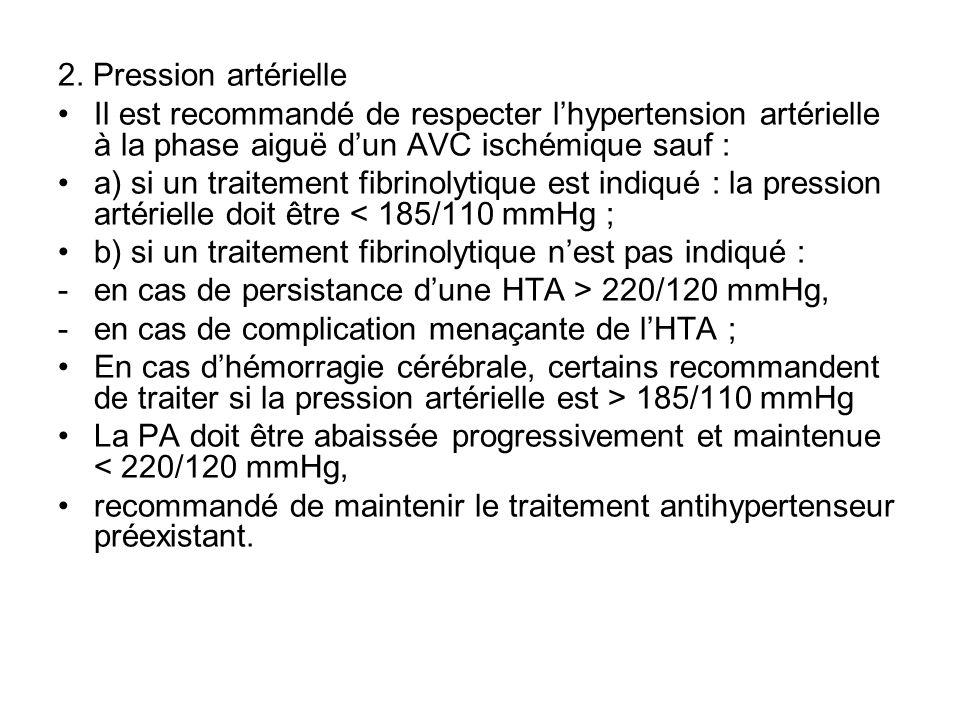 2. Pression artérielle Il est recommandé de respecter l'hypertension artérielle à la phase aiguë d'un AVC ischémique sauf :