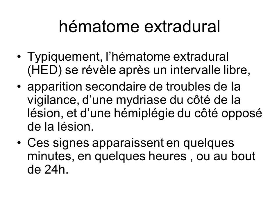 hématome extradural Typiquement, l'hématome extradural (HED) se révèle après un intervalle libre,