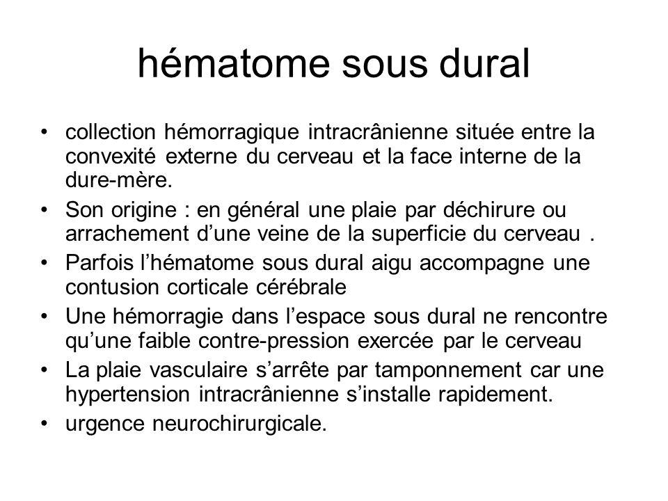 hématome sous dural collection hémorragique intracrânienne située entre la convexité externe du cerveau et la face interne de la dure-mère.