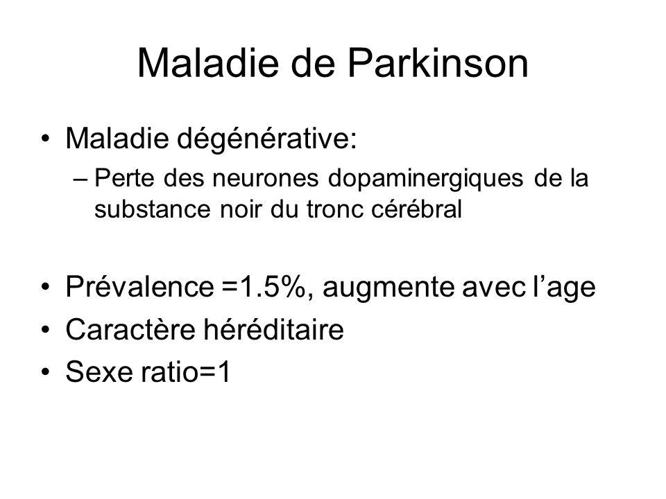Maladie de Parkinson Maladie dégénérative: