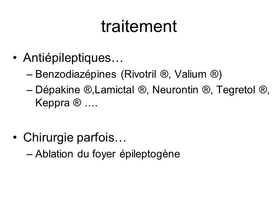 traitement Antiépileptiques… Chirurgie parfois…