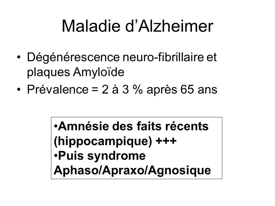 Maladie d'Alzheimer Dégénérescence neuro-fibrillaire et plaques Amyloïde. Prévalence = 2 à 3 % après 65 ans.