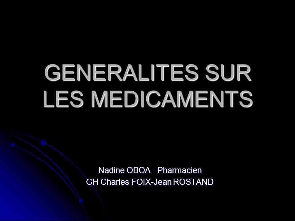 GENERALITES SUR LES MEDICAMENTS - ppt télécharger