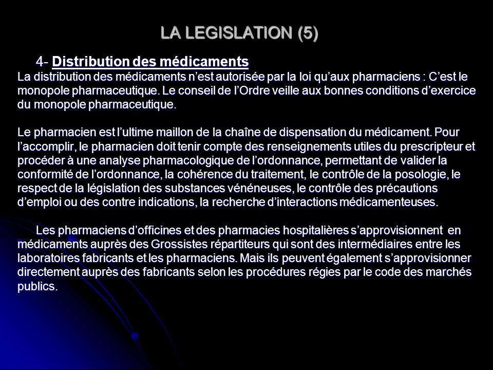 LA LEGISLATION (5) 4- Distribution des médicaments