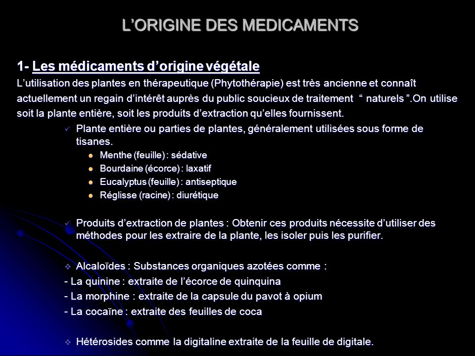 L'ORIGINE DES MEDICAMENTS