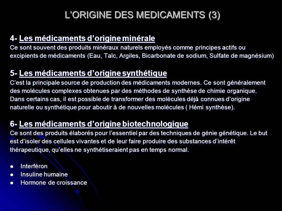 L'ORIGINE DES MEDICAMENTS (3)