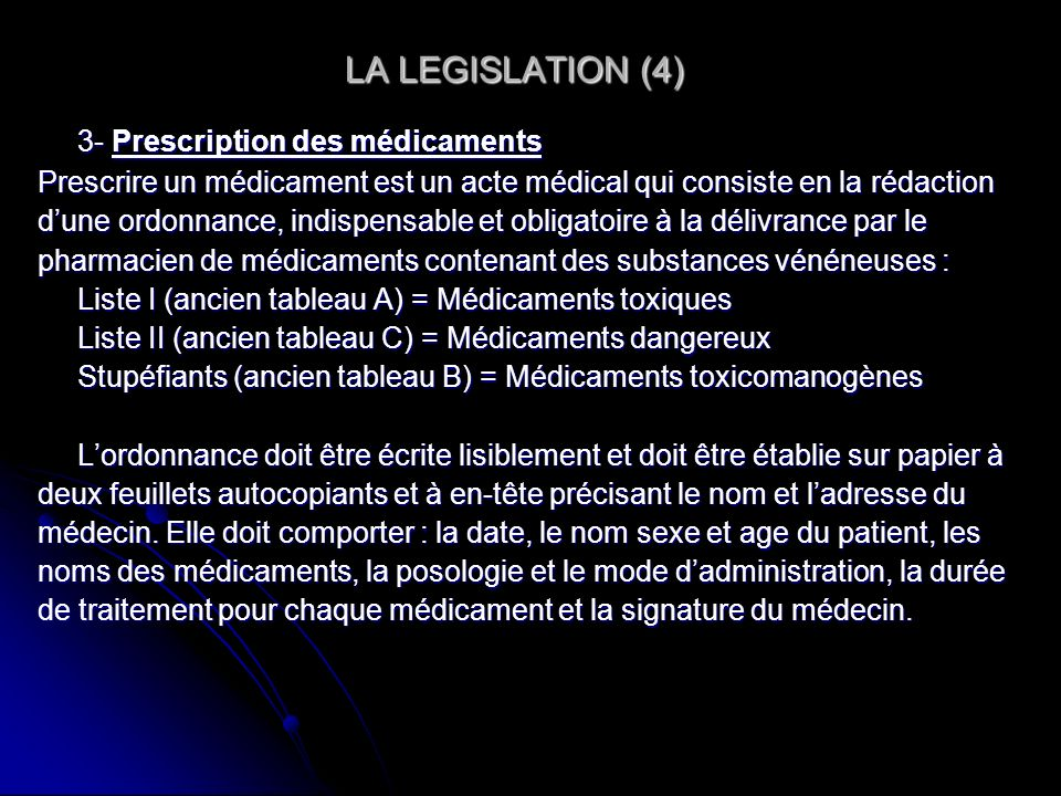LA LEGISLATION (4) 3- Prescription des médicaments