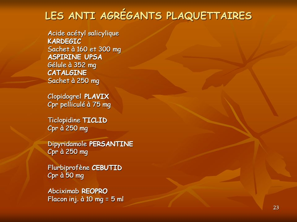 LES ANTI AGRÉGANTS PLAQUETTAIRES