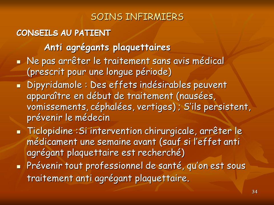 Anti agrégants plaquettaires