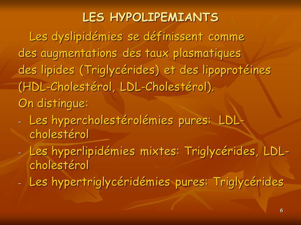 LES HYPOLIPEMIANTSLes dyslipidémies se définissent comme. des augmentations des taux plasmatiques. des lipides (Triglycérides) et des lipoprotéines.