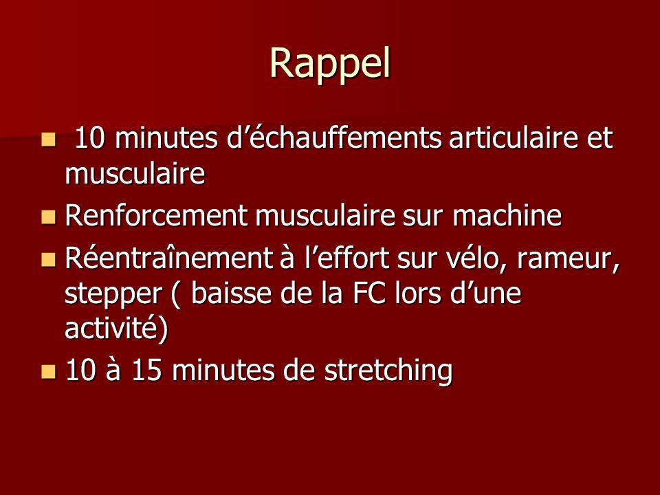 Rappel 10 minutes d'échauffements articulaire et musculaire