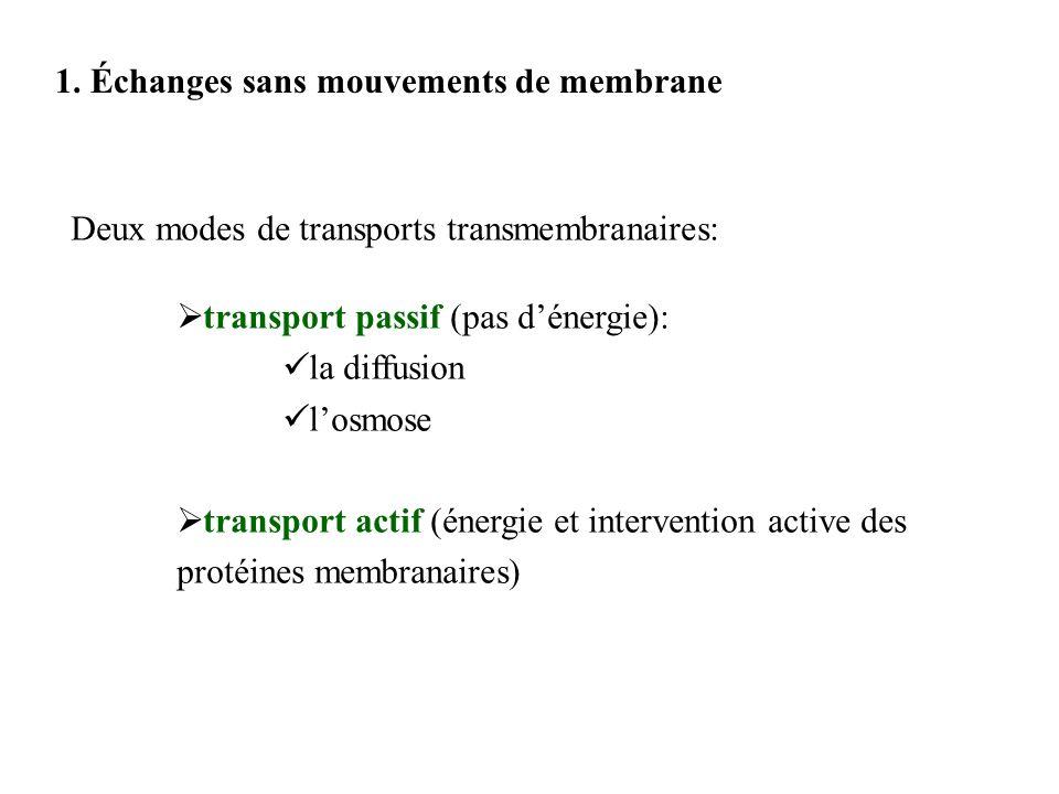 1. Échanges sans mouvements de membrane