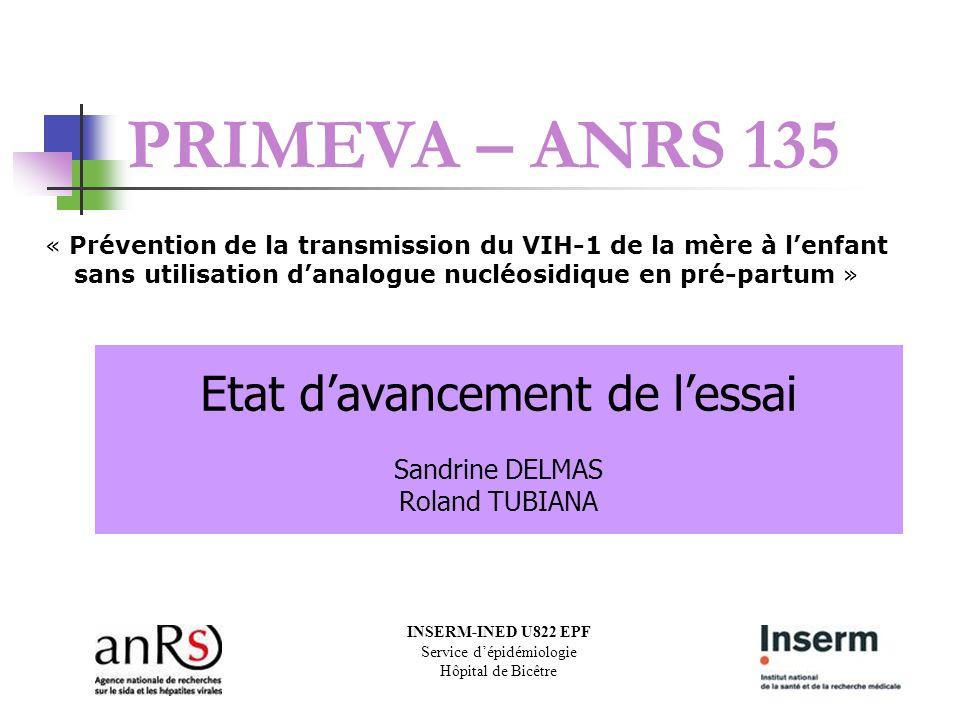 PRIMEVA – ANRS 135 « Prévention de la transmission du VIH-1 de la mère à l'enfant sans utilisation d'analogue nucléosidique en pré-partum »