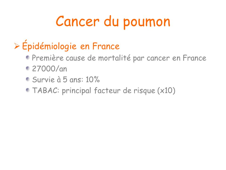 Cancer du poumon Épidémiologie en France