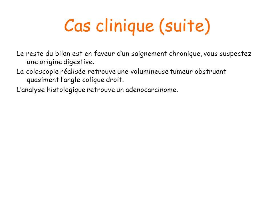 Cas clinique (suite) Le reste du bilan est en faveur d'un saignement chronique, vous suspectez une origine digestive.