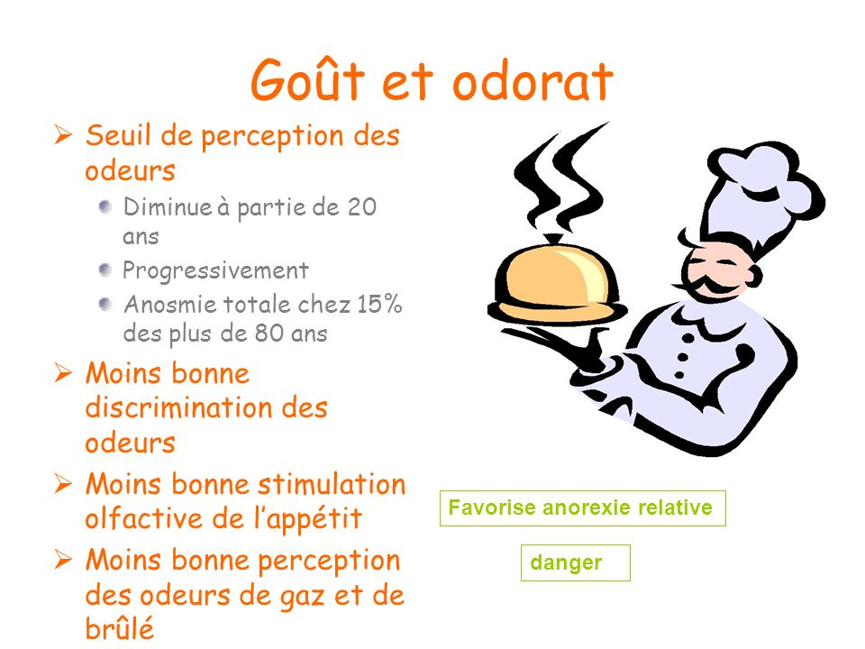 Goût et odorat Seuil de perception des odeurs