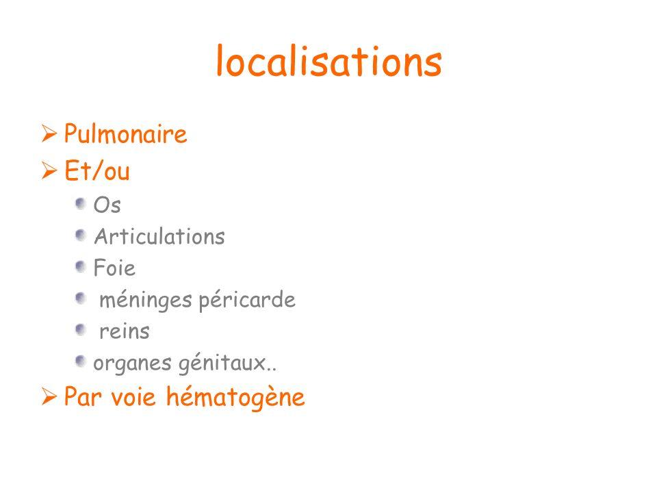localisations Pulmonaire Et/ou Par voie hématogène Os Articulations