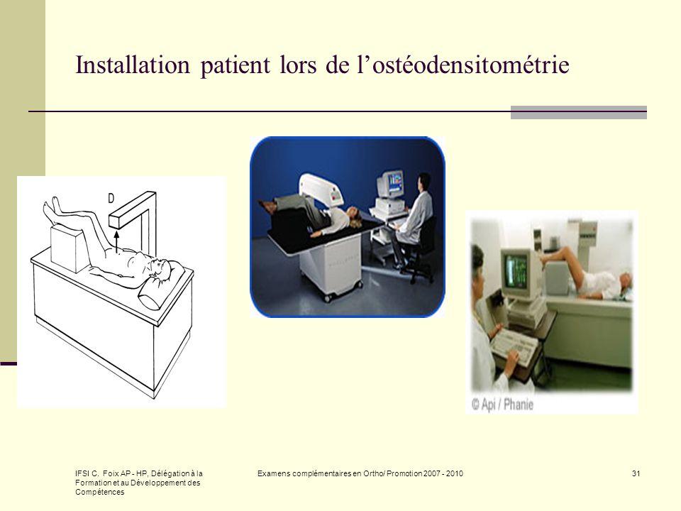 Installation patient lors de l'ostéodensitométrie